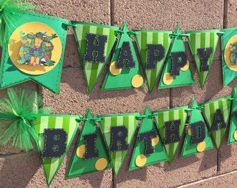 Teenage Mutant Ninja Turtle Birthday Banner, Turtle Banner, Happy Birthday