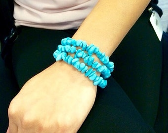 Turquoise Chip Bracelet. Chunky Turquoise Bracelet.Triple Strand Turquoise Bracelet. Turquoise Bracelet. Strand Bracelet.