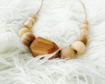 Wood bead Necklace teething necklace breastfeeding necklace natural necklace mom necklace