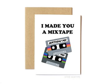 Mixtape Birthday Card, Anniversary Card, Friend Birthday, 80s, Cassette Tape, Music