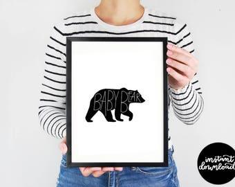 Baby Bear Digital Download, Nursery Print, Nursery Bear Decor, Baby Bear Print, Baby Bear Wall Decor, Printable, Black and White Print,