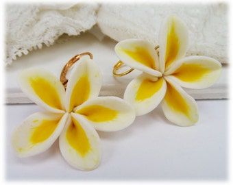 Large Plumeria Earrings - Silver Gold or Antique Brass Big Frangipani Earrings, Plumeria Jewelry