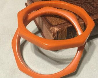 Vintage Bakelite butterscoth octagon bangle bracelets - set of 2
