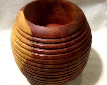 Decorative Office Ribbed Honey Mesquite Vessel Container Two Toned Round