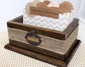 RECIPE BOX / Recipe Box with Dividers / Recipe Cards / Neutral Recipe Dividers / Tan Chevron Dividers / Rustic Recipe Box / Foodie Gift