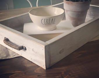 Coffee Table Tray, Wood, Ottoman, Rustic, Breakfast, Serving, Farmhouse Decor, Fixer Upper Decor, Cottage