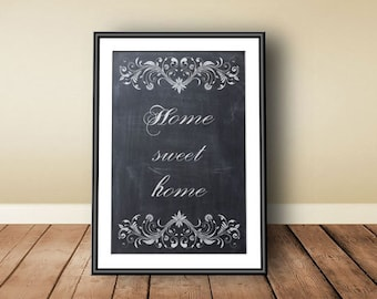 Home sweet home print, digital download, instant download, Entryway Printable, Chalk Home Sweet Home, Printable Art, Home Sweet Home Sign