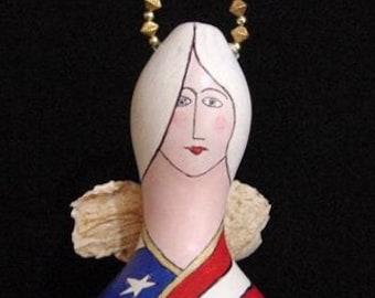 Patriotic Mixed Media Angel Gourd Doll
