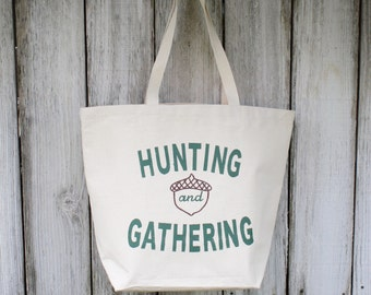 Hunt & Gather | Large | Eco-Friendly | Reusable | Shopping Bag | Market Bag | Tote Bag | Hand Painted | 100% Cotton Canvas | Made In USA
