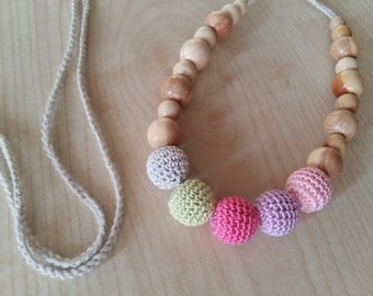 Nursing necklace Crochet necklace Teething necklace Breastfeeding Ecofrendly Natural necklace Crochet jewerly Juniper Neacklace for mom