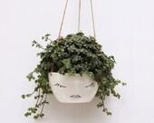 White Ceramic Hanging Planter // Face Plant Pot // Character // Modern Scandinavian Design // Botanical // Black and White Minimalist