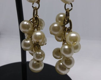 Vintage faux pearl dangle drop clip on earrings signed Hong Kong