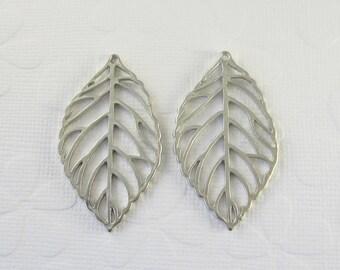 4 Pcs - Matte Rhodium Plated Filigree Leaves, Rhodium Leaf, Connector, Earrings, Charm, Pendant (43x25MM)