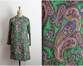 60s Mod Peter Pan Collar Mini Dress / Green Dress / Shift Dress / Lady Bird Dress/ 1960s Dress/ Mod Dress / Size S/M