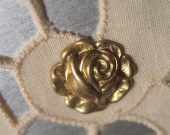Cabbage, Rose, Raw, Brass, Stamping, 13mm, 1 ring, 16mm, charm, 4 loop, connector,