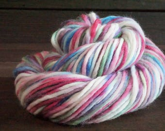 Hand Dyed Yarn, Pink, Blue, Green, Merino, Wool, Worsted, Indie Dyer, Knit, Crochet, Weave, Single Ply