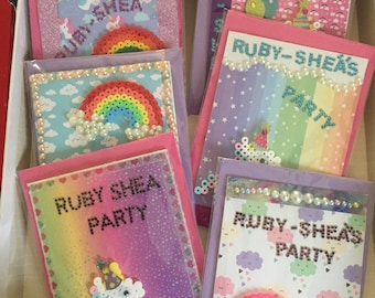 Personalised Children's Party Invitations - Pack of 6 - Unicorns & Rainbows - Choose upgrade options - Each invitation comes with a keepsake