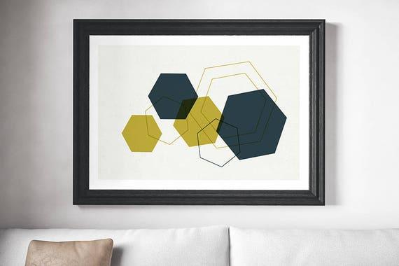 MULTI DIAMOND // poster, Abstract art, 12x18, minimalist art print, geometric print, mid century, Scandinavian style, diamond, green