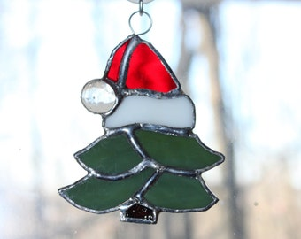 Handmade Stained Glass Christmas Tree Suncatcher
