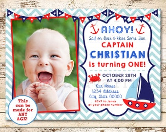 1st birthday invitations boy etsy nautical first birthday invitation sailboat birthday invite o fishally one 1st birthday digital file blue red boy printable filmwisefo