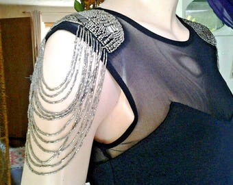 Unusual Gothic/Punk black steampunk tea dress top shop with tassle shoulders,size 10