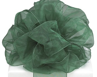 "Extra Wide 5yds x 4"" Sheer Dark Green Wired Edge Ribbon (FREE SHIPPING!)"