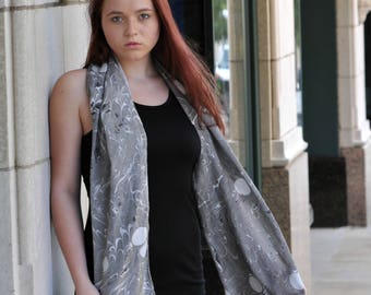 Hand Painted Silk Cotton Scarf with Gray and Black Swirled Paint White Dots Asheville MM #16-Solar Eclipse