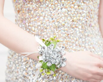 Prom Corsage Silver, Wedding Wrist Corsage - Raina Corsage with Green Leaves - Silver Flower Corsage w/ Custom Ribbon & Band