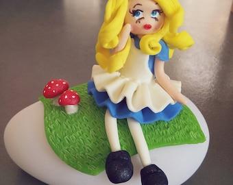 Pilot doll Alice in Wonderland of cold porcelain