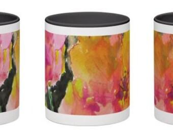 Midnight Bloom Ceramic Mug, Wrap Around Floral Watercolor Design, 11 ounce, Office Mug