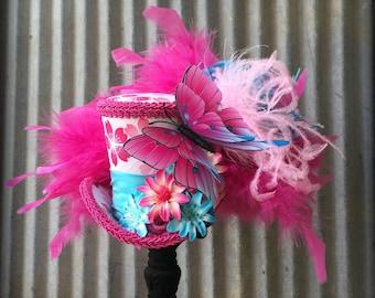 Mini Top Hat, Pink and Turquoise Mini Top Hat, Summer Festival Mini Top hat, Kimono hat, Alice in Wonderland, Mad Hatter, Small mini