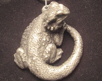 Bearded Dragon Pendant Necklace NEW DESIGN!!  top clasp syle   cold cast pewter
