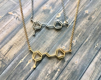 Resveratrol Wine Molecule Necklace // Gold Plated or Stainless Steel // Wine lover gift // Science Jewelry // Chemistry, Molecule necklace