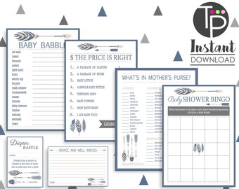 Baby Shower GAMES, Instant download BABY SHOWER Games, Tribal Arrow Baby Shower Games, Arrow Baby Shower, Tribal Baby Shower Games, Baby Boy
