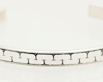 Carlos Border Sterling Silver Bangle Bracelet, Hand Engraved, Hand Made