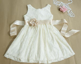 Ivory champagne flower girl dress Lace flower girl dress Ivory flower girl dress