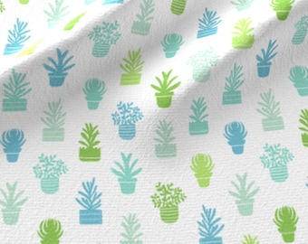 Mod Succulents Fabric - Succulents Silhouettes By Stolenpencil - Blue and Greenery Botanical Cotton Fabric By The Yard With Spoonflower
