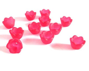 10 Red 10x6mm frosted acrylic flower beads