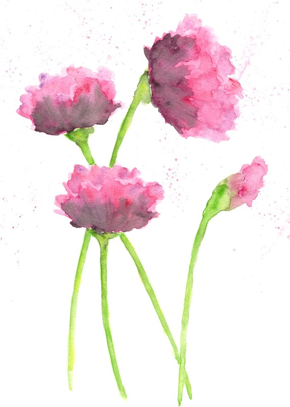 Watercolor Painting Nursery Room Flowers Baby