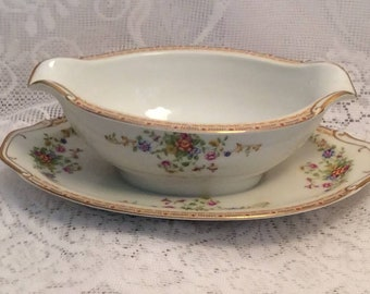 """Rare Vintage National China of Japan Gravy Dish and Attached Plate """"Patricia"""""""