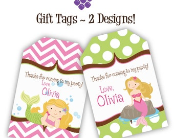 Mermaid Gift Tags - Pink Chevron, Lime Green Polka Dots, Cute Girl Mermaid Personalized Birthday Party Gift Tags - A Digital Printable File