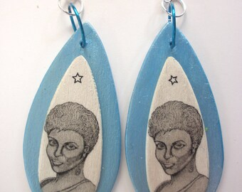 Star Trek-Uhura- First Lady of Space Uhura, Star Trek earrings, Iridescent Star Trek earrings, Iridescent Uhura earrings