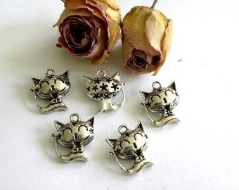 Pendants cats 27mm filigree openwork and Tibetan silver x 5