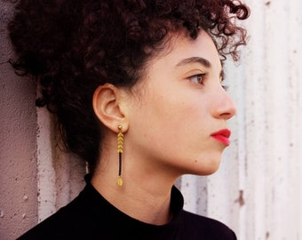 Leaf drop earrings black gold leaf earrings chevron earrings bijoux nature jewelry chain ear stud long dangle earrings - Folium Earrings