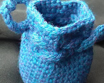 Small blue drawstring bag