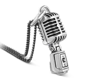 Microphone Necklace - Antique Silver Microphone Pendant