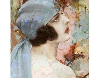 Flapper vintage print, digital print, 1920s print, photomontage, digital art, vintage print, home decor, wall art, abstract, fine art, print