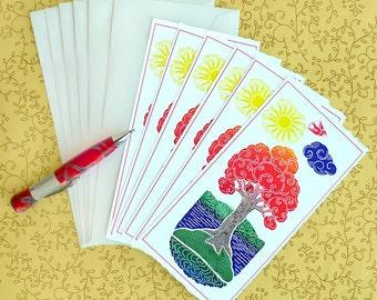 Hand Made Stationery Tree of Joy Correspondence Slips Set of Six