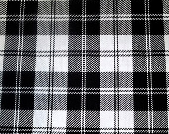 Menzies Black Plaid Tartan Sale by Yard Fabric~Black and White Plaid Fabric Craft Decor upholstery fabric~sewing fabric@sohoskirts