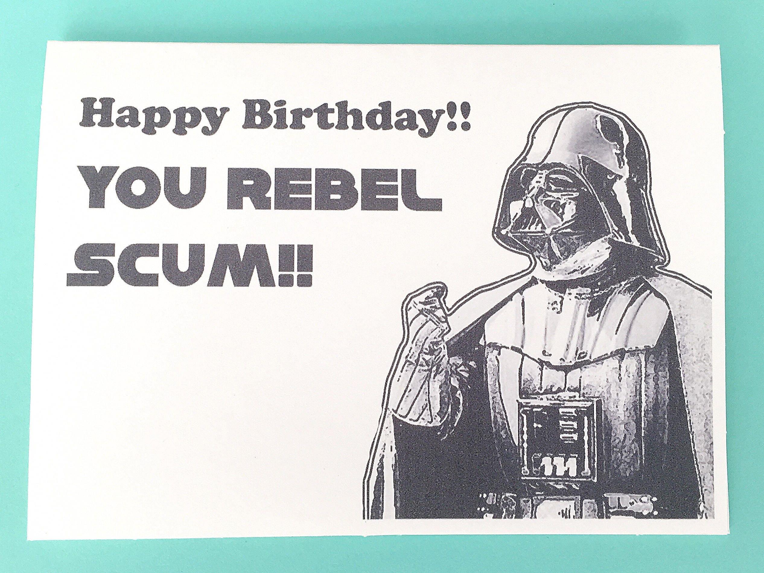 star wars darth vader birthday card rebel scum star wars